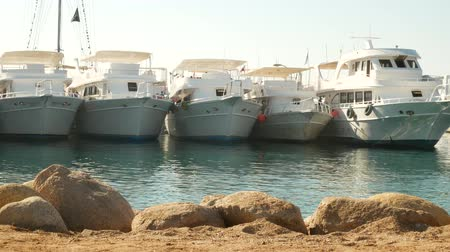 moorage : Small boats and yachts are in the berth of the seaport