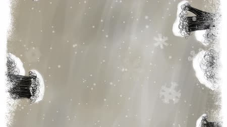 sepya : Animated art titles background with snowman, trees, bushes, falling snow and dancing snowflakes in sepia color. A lot of free space for your text. Hand drawn loop able cartoon film.