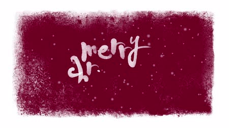 feliz natal : Merry Christmas Calligraphic Lettering with Snow Inside a Frame