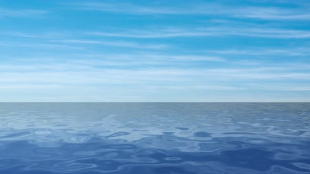 horizonte sobre a água : Animation of flying over blue sea
