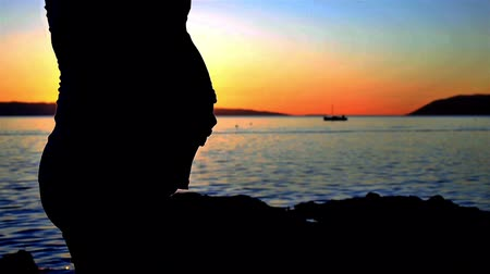 dokunaklı : Silhouette of pregnant woman touching belly near sea in sunset Stok Video