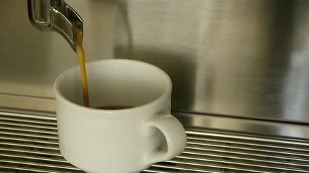 black coffee : Preparation of espresso coffee on machine Stock Footage