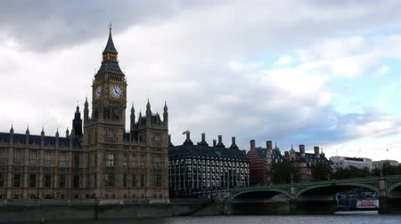 big ben : Editorial video of view at Palace of Westminster and Big Ben from the boat on the Thames river