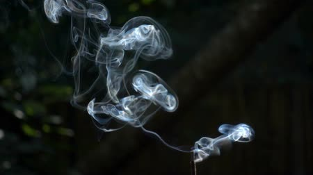 incenso : Incense smoke in super slow motion against black background Stock Footage