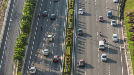 multiple lane : 4K Time-lapse of flowing cars on the freeway in Kuala Lumpur, Malaysia Stock Footage