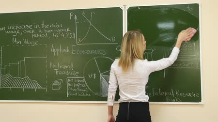экономический : Female Teacher Rubbing off a Blackboard