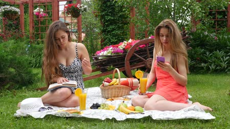 giydirmek : Girls Have a Picnic and Read a Book Stok Video