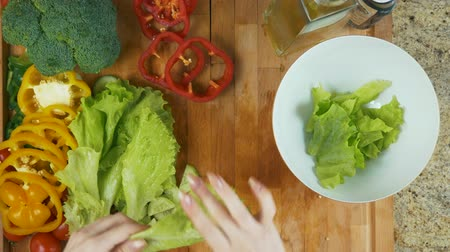 tábua de cortar : Preparing Salad dish Stock Footage
