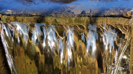rivulet : Waterfall mountain creek stream river - flowing running water, close up Stock Footage