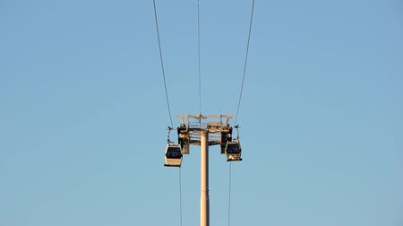 birdseye : Cable car against the blue sky Stock Footage