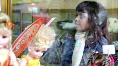 toy : Reflection on window, little girl
