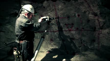 career path : Miner at work into the mine Stock Footage