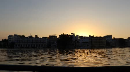 pichola : A sunset view in Udaipur behind Pichola Lake.