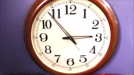 minute hand : Fast running wall clock. Stock Footage