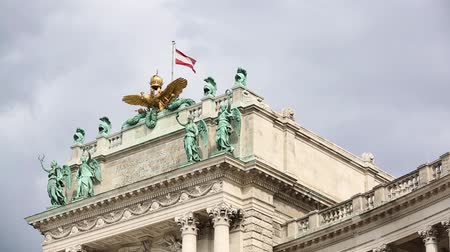 Austrian flag on Heldenplatz in Vienna, Austria