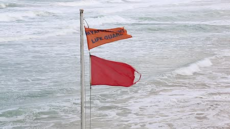 Red flag - Swimming forbidden due to heavy storm