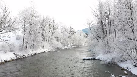 Enns river in Ennstal, Styria, Austria during winter