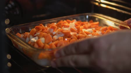 Vegetables put in the oven. Close-up