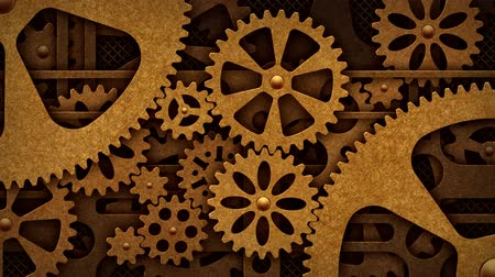 estilizado : Steampunk mechanism with gears Stock Footage