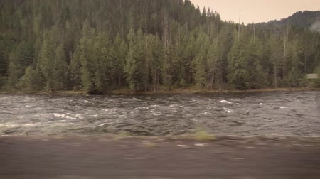 alpes : Road trip along a river in Idaho on a spring morning Stock Footage