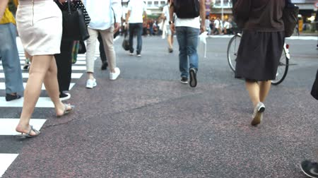 взял : Its a slow motion video that people took on crosswalk in Shibuya Tokyo. On the day of summer cloudy.