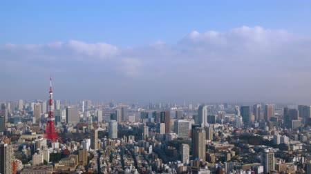 prospective : Timelapse Walk in the air in Tokyo afternoon Zoom in