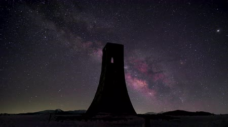 plateau : Timelapse Video Night view of Japans plateau (Utsukushigahara) Milky way Stock Footage
