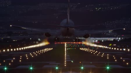 runway : Airliner landing on the runway at night  back view