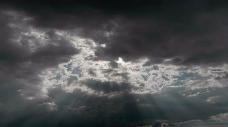 god ray : TimeLapse Angels ladder appearing from clouds Stock Footage