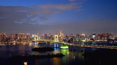 TimeLapse Daytime to night scenery in Tokyo and Tokyo bay Zoom in