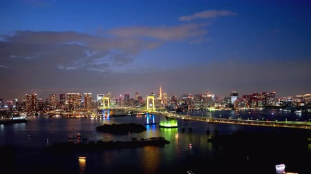 TimeLapse Daytime to night scenery in Tokyo and Tokyo bay Zoom out