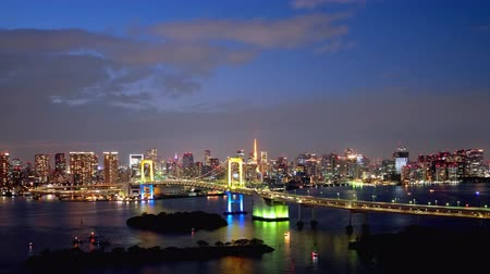 harbor bridge : TimeLapse Daytime to night scenery in Tokyo and Tokyo bay Tilt up Stock Footage