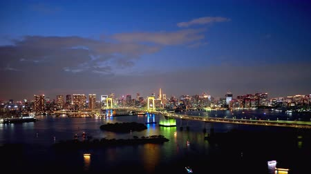 TimeLapse Daytime to night scenery in Tokyo and Tokyo bay FIX