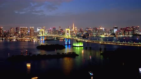 TimeLapse Daytime to night scenery in Tokyo and Tokyo bay Tilt down