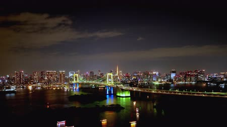 TimeLapse Night view of Tokyo Bay and Tokyo city Zoom in
