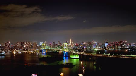 TimeLapse Night view of Tokyo Bay and Tokyo city Zoom out Stock mozgókép