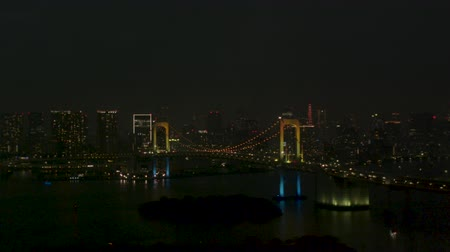 tokio : Night view of Tokyo viewed from Odaiba Zoom in Aerial