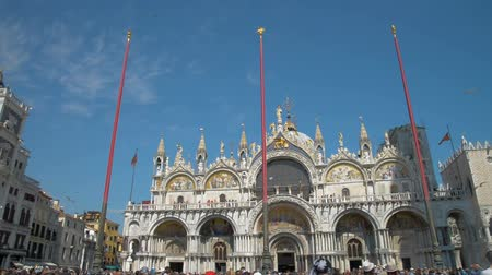 marcos : Venice Italy: Basilica di San Marco cathedral church at San Marco or St. Marks square. San Marco basilica architecture. San Marco cathedral pan shot. San Marco close up. San Marco Italy