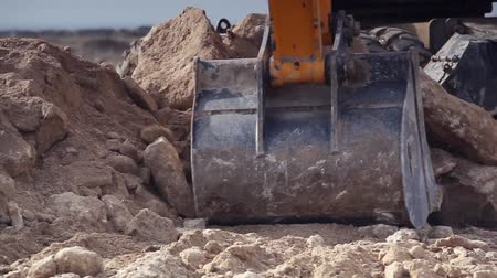 earthworks : Close-up of excavator bucket Stock Footage