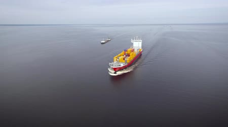 Тихий океан : Aerial view of container ship in the sea