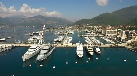 superb : Aerial view of pier with yachts