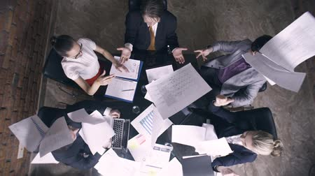 projects : Super slow motion. Business people throw papers into air