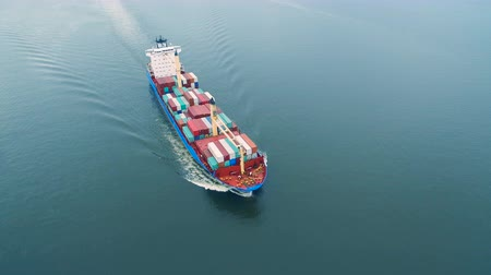 damarlar : Aerial view of container ship sailing in sea