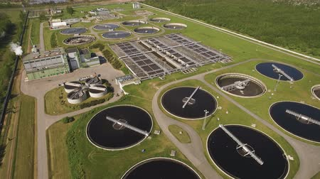 refining : Flying above water treatment facility