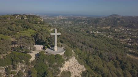rhodes : Aerial view of Filerimos Cross
