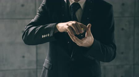 gesture pack : Illusionist performing card trick Stock Footage