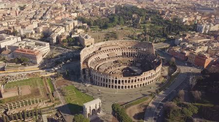 amphitheatre : Aerial view of Colosseum Stock Footage