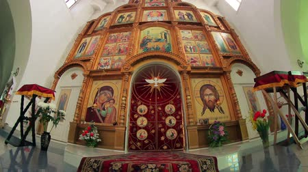 iconography : Ancient icon in the Orthodox Church, the beautiful  golden image Stock Footage