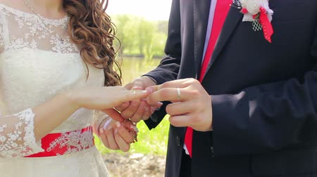 koca : groom wears the ring on the brides hand close-up, registration  in the park Stok Video