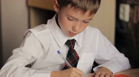 uniforme : Little boy close-up of a schoolboy in a white shirt and tie is sitting at a table and writes in a notebook pen
